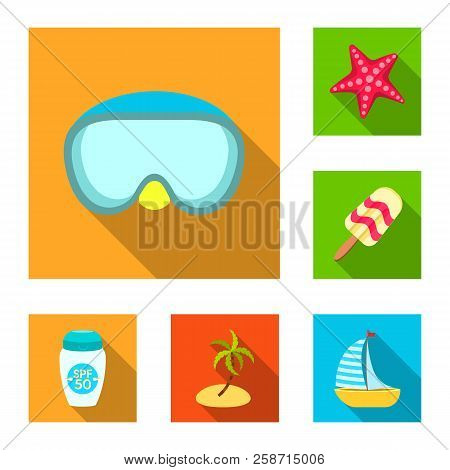 Vector Illustration Of Equipment And Swimming Symbol. Set Of Equipment And Activity Stock Vector Ill