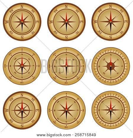 Compass, A Set Of Realistic Compasses. Compass Icon. Flat Design, Vector Illustration, Vector.