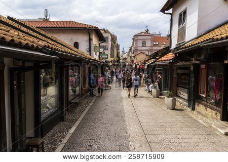 Sarajevo / Bosnia And Herzegovina - September 2, 2018:  Pedestrian Market Area Of Bascarsija In Sara