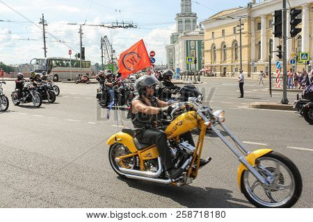 St. Petersburg, Russia - 4 August, A Unique Bike On The Parade, 4 August, 2018. Parade Of Harley Dav
