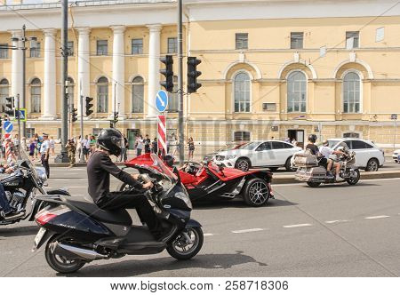 St. Petersburg, Russia - 4 August, Different Motor Vehicles On The Parade, 4 August, 2018. Parade Of