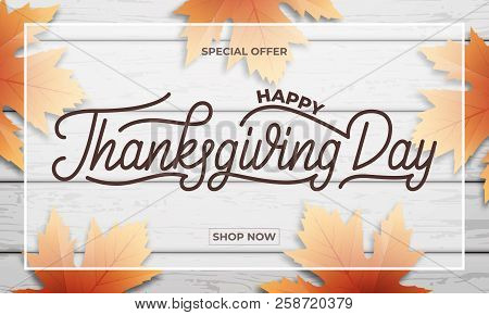 Thanksgiving Day Sale. Banner Design For Thanksgiving Sale, Promotion, Etc. Thanksgiving Day Letteri