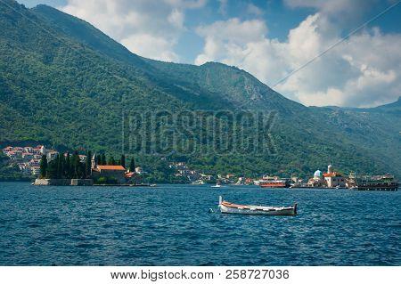 The Islands Called Sv. Djordje And Gospa From Škrpjela. This Island Is Located In Boka Kotorska Bay