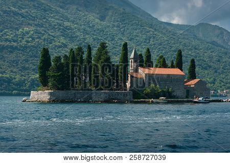 An Island Called Sv. Djordje. This Island Is Located In Boka Kotorska Bay Near Perast In Montenegro.