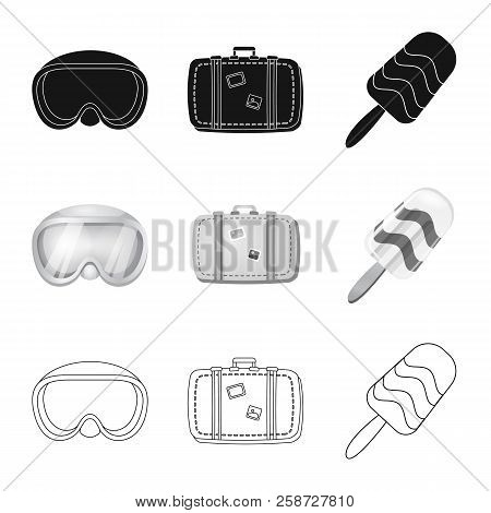Vector Illustration Of Equipment And Swimming Logo. Collection Of Equipment And Activity Stock Vecto