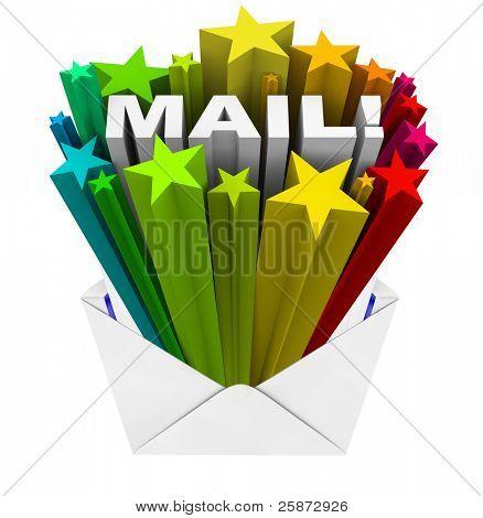 Открытие конвертов Показать всплеск звёзд и слово почты, иллюстрирующие сюрприз и excitem