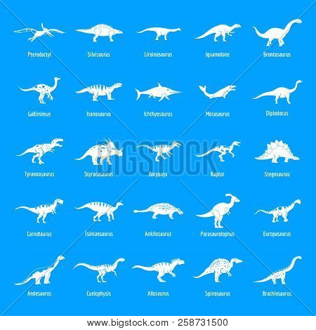 Dinosaur Types Signed Name Icons Set. Simple Illustration Of 25 Dinosaur Types Signed Name Vector Ic