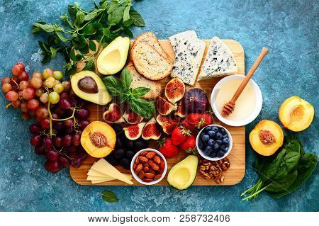 Light Delicious Fruit And Cheese And Nuts Plateu, Easy Party Snack Or Healthy Lunch, View From Above