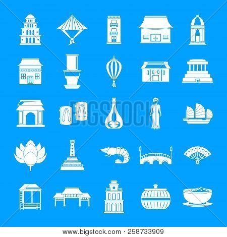 Vietnam Travel Tourism Icons Set. Simple Illustration Of 25 Vietnam Travel Tourism Vector Icons For