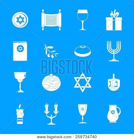 Chanukah Jewish Holiday Icons Set. Simple Illustration Of 16 Chanukah Jewish Holiday Vector Icons Fo