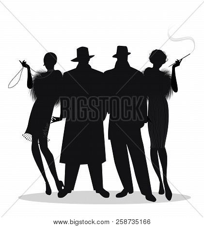 Silhouettes of two men and two flapper girls 20s style isolated on white background. Roaring twenties poster