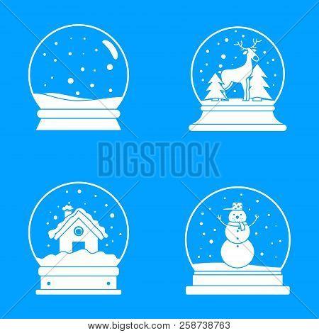 Snow Globe Ball Christmas Winter Icons Set. Simple Illustration Of 16 Snow Globe Ball Christmas Wint