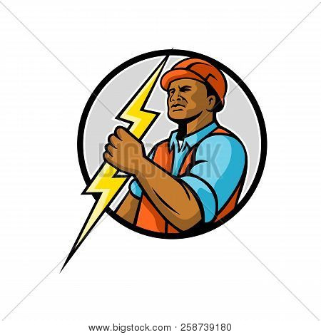 Mascot Illiustration Of A Black African American Electrician Or Power Lineman Holding A Lightning Bo