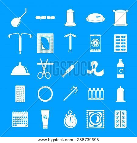 Contraception Day Control Pill Medication Oral Test Icons Set. Simple Illustration Of 25 Contracepti