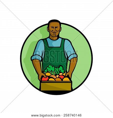 Mascot Illustration Of A Black African American Green Grocer Or Greengrocer Holding Fruit And Vegeta