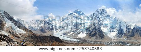 Himalaya, Panoramic View Of Himalayas Mountains, Mount Everest With Beautiful Sky And Khumbu Glacier