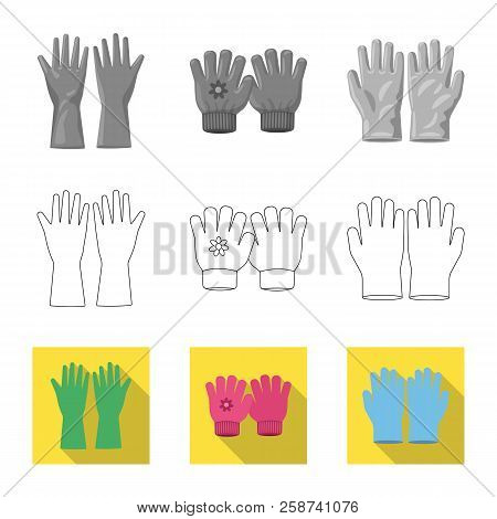 Vector Illustration Of Glove And Winter Logo. Set Of Glove And Equipment Stock Vector Illustration.