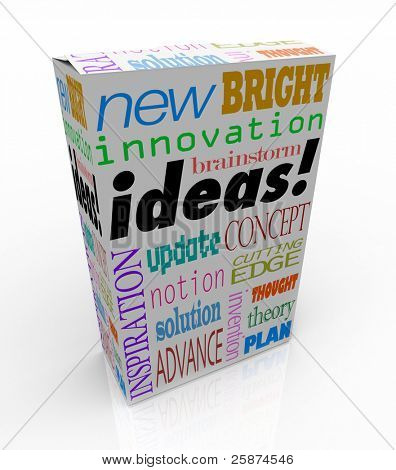 The word Ideas on a product box you could buy at a store for instant inspiration, innovation, concepts, brainstorms, inventions and plans
