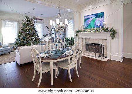 luxury home or apartment decorated for christmas dinner