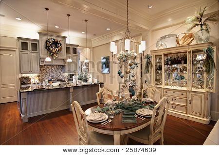 expensive apartment decorated for christmas dinner
