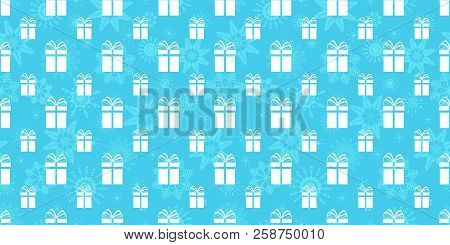 Winter Holidays Background. Gift Boxes Seamless Pattern. Repeated Texture With Presents Icons And Sn