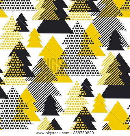 Simple Cool Black And Yellow Geometric Christmas Tree Seamless Pattern. Triangles Geometry Repeatabl