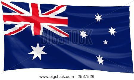 large blue australian flag flapping in the wind poster