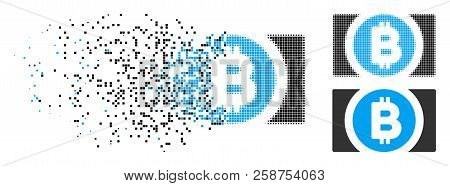 Bitcoin Cash Icon In Fractured, Dotted Halftone And Entire Versions. Fragments Are Organized Into Ve