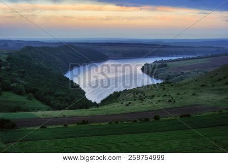Picturesque Dawn By The River. Morning Dniester