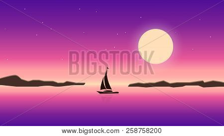 Sea And Night Sky Landscape Illustration. Moon Light Ocean With Sailboat. Beautiful Romantic Dark Mo