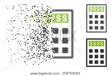 Book-keeping Calculator Icon In Fractured, Pixelated Halftone And Original Variants. Pixels Are Grou