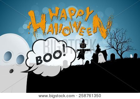 Halloween Background With Ghosts, Haunted House, Tree, Cemetery And Scarecrow