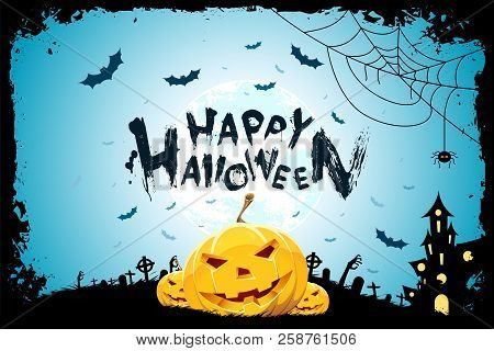 Halloween Background With Pumpkins, Haunted House, Zombie Hands, Bats And Spider