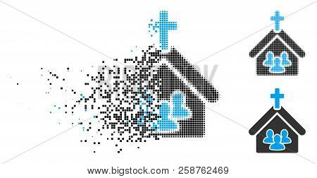 Church People Icon In Dissolved, Pixelated Halftone And Undamaged Variants. Particles Are Combined I