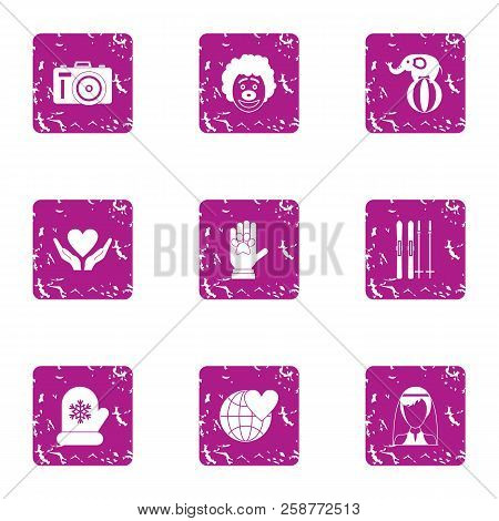 Philanthropy Icons Set. Grunge Set Of 9 Philanthropy Vector Icons For Web Isolated On White Backgrou