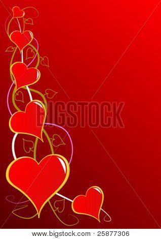A vector illustration with a series of red hearts and room for copy, useful for valentines day, love,or romance