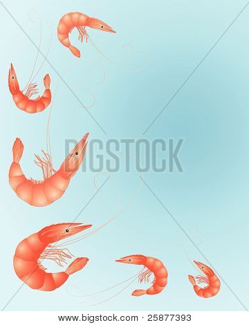 an illustration of brightly colored prawns on a sea blue background poster
