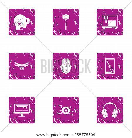 Virtual Training Icons Set. Grunge Set Of 9 Virtual Training Vector Icons For Web Isolated On White