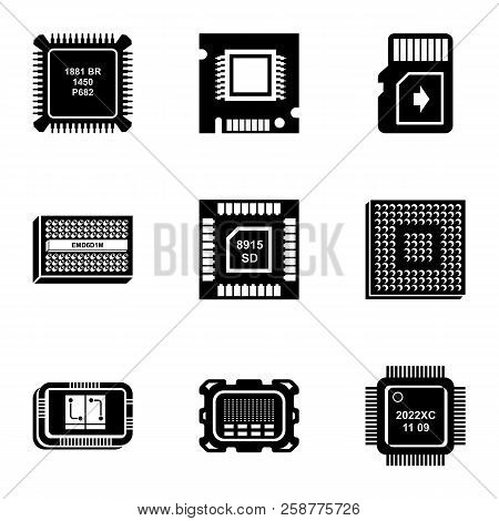 Integrated Circuit Icons Set. Simple Set Of 9 Integrated Circuit Vector Icons For Web Isolated On Wh