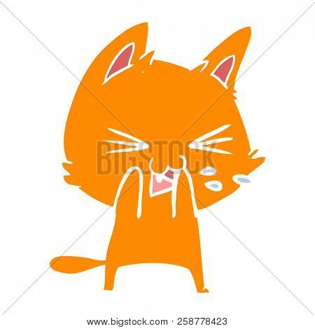 flat color style cartoon cat hissing poster