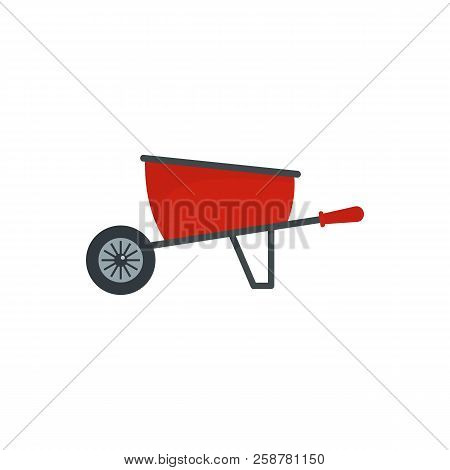 One Wheel Barrow Icon. Flat Illustration Of One Wheel Barrow Vector Icon For Web Design