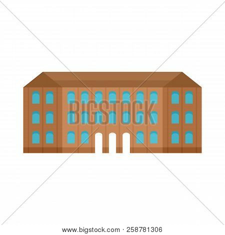 Historical Vintage Old Building Icon. Flat Illustration Of Historical Vintage Old Building Vector Ic