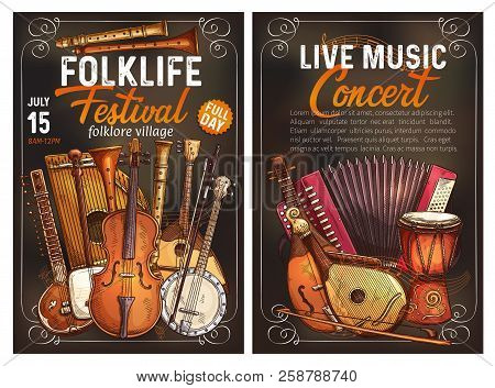 Folk Music Festival Live Concert Invitation Poster With Ethnic Musical Instrument. Viola, Drum And S