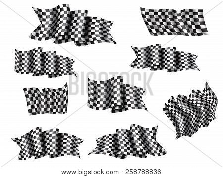 Racing Flag Isolated 3d Icons And Symbols For Auto Race Sport. Waving Flag With Black And White Chec