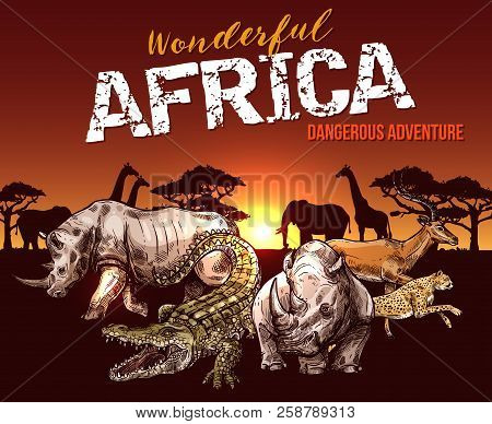 African Animals. Elephant, Giraffe And Rhino, Crocodile, Jaguar And Antelope Sketch Banner With Sunr