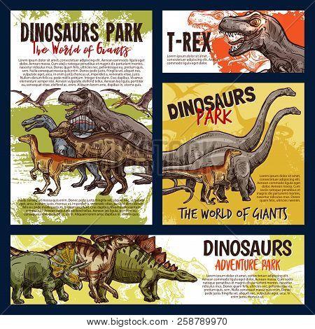 Dinosaur Jurassic Animal Sketch Of Dino Monster Adventure Park. Tyrannosaurus Rex, Stegosaurus And P