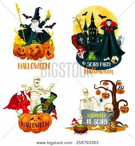 Halloween Holiday Horror Night Monsters. Scary Pumpkin On Tree With Bat And Spider, Fear Skeleton Sk