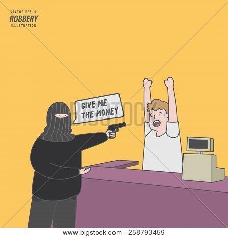 The Thief Rob Mini Mart Or Supermarket With Handgun Illustration Vector. Criminal Concept.