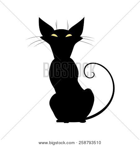 Silhouette Of Black Cat With Yellow Eyes. Cute Witch Cat With Long Whiskers. Vector Illustration.