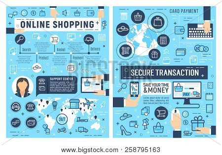 Safe Online Shopping And Internet Payment Security Posters, Secure E-commerce Business. Web Store Cu